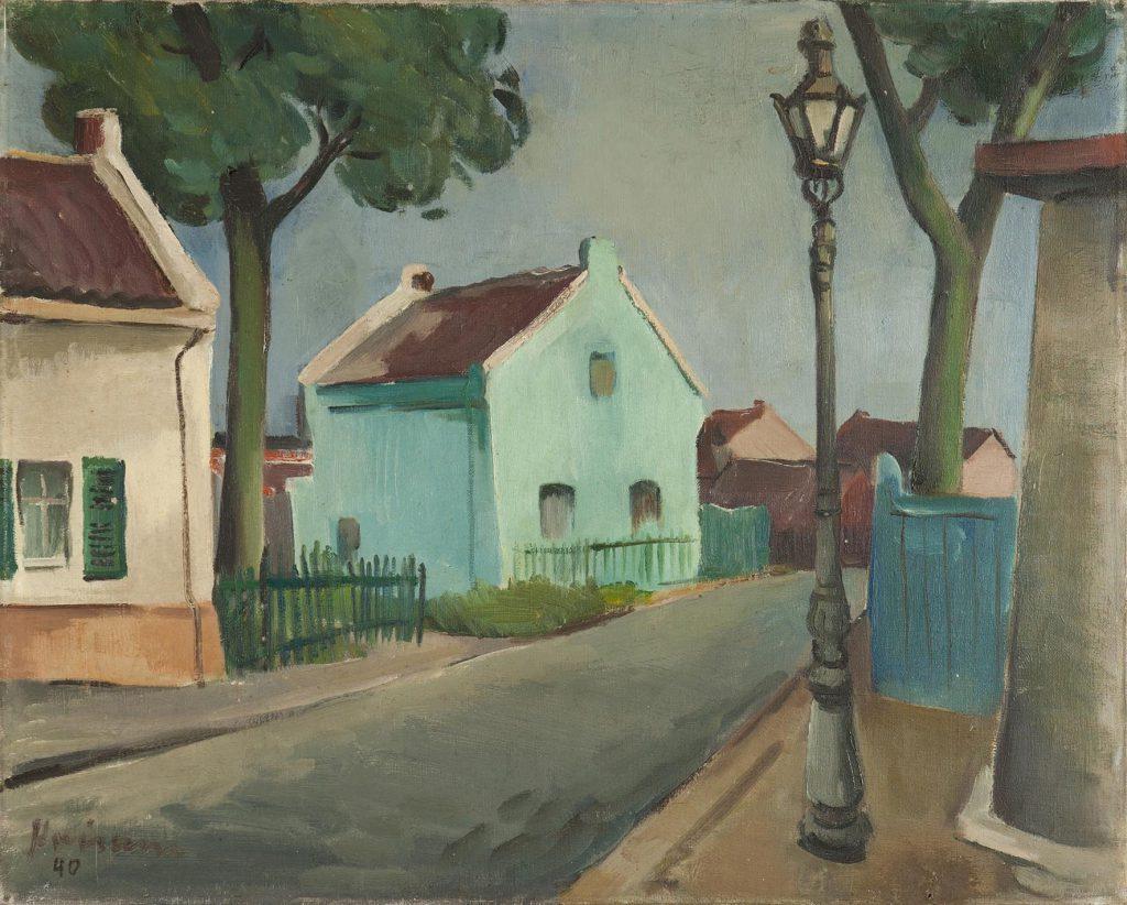 Peter Krisam: Köln Bickendorf – Häuschenweg, 1940, Öl auf Leinwand, 50 x 61,2 cm, Stadtmuseum Simeonstift Trier, Inv.-Nr. III 1746, Fotograf: Matthias Schmitt, Studio-54.